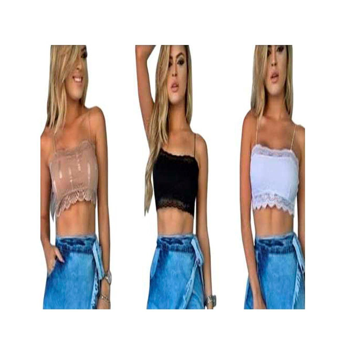 2ffb30fc4 kit c/2 tops cropped renda alça blusa com bojos top sutiã · cropped alça  blusa. cropped alça blusa. 5 Fotos