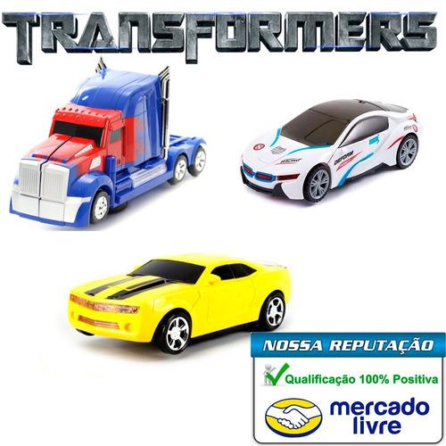 kit c/3 carrinhos vira robô luz som transformers