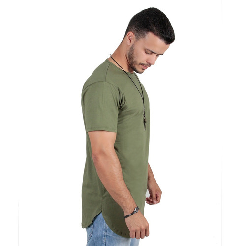 kit c/3 un camisas blusas masculinas long line estilosas