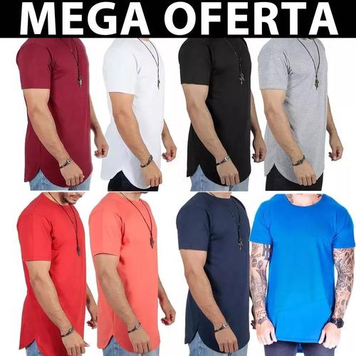 kit c/3 un camisas blusas masculinas longline oversize swag