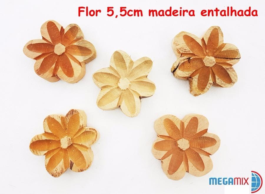 Artesanato Girassol Pedreira ~ Kit C 30 Flores Flor Entalhadas Madeira M 5,5cm Artesanato R$ 88,00 em Mercado Livre