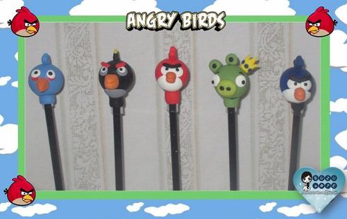 kit c/30 lembrancinhas - ponteiras do angry bird c/lápis