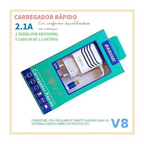 kit c/4 carregador fonte para tablet philco 5v 2a pino v8