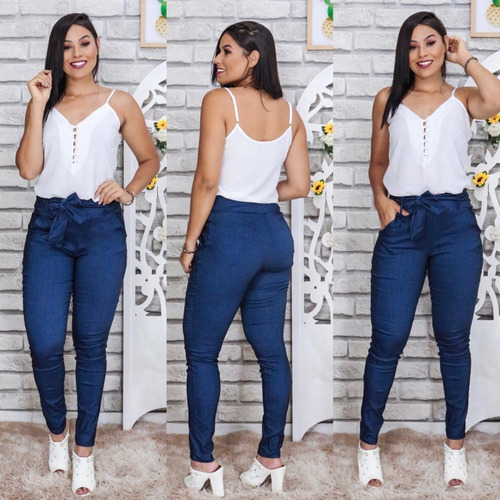 kit c/5 calças feminina justa cintura alta tecido bengaline