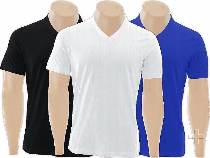 Kit C 5 Camisetas Gola V Rasa Lisa Básica Camisa Gola V - R  0ea44e185d17b