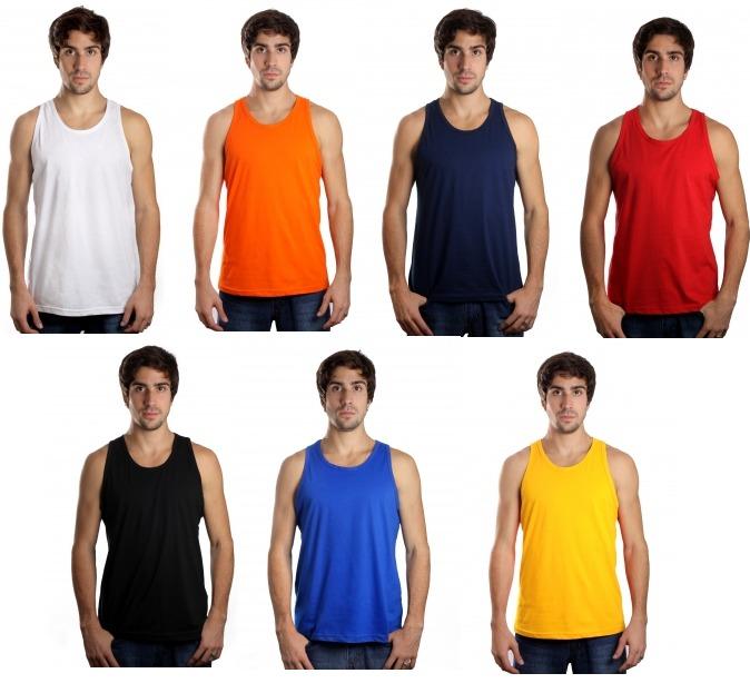 77cc203d7e987 Kit C 5 Camisetas Regata Masculina Lisa Básica Camisa Blusa - R  74 ...