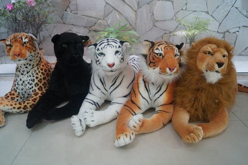 kit c/5 pelúcias 01tigre,01 onça,01 leão e 01  pantera 01gfa