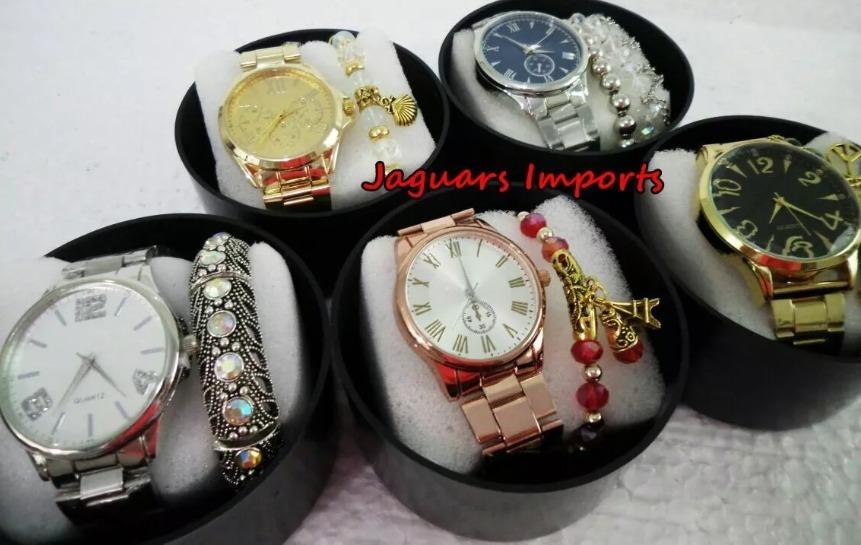 5e0e28e342b9c Kit C 5 Relógios Femininos + Pulseira Na Caixa De Acrílico - R  129 ...