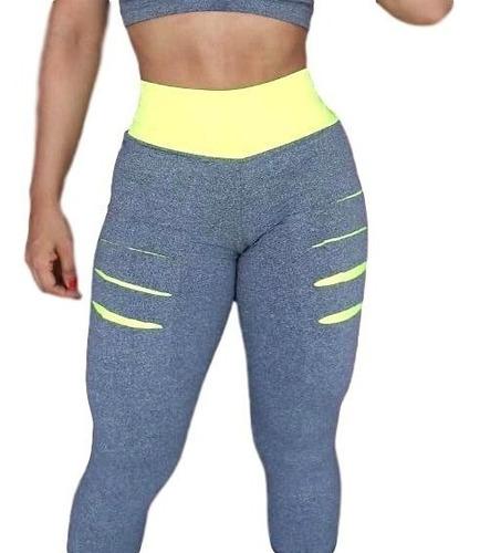 kit c/6 peças: 3 calça leg fitness academia + 3 top d brind