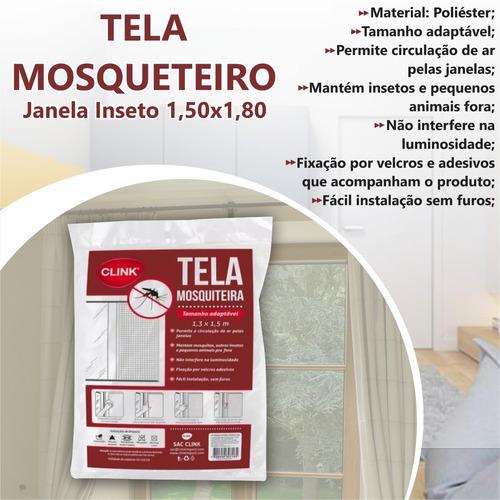 kit c/6 tela mosqueteiro janela inseto 1,50x1,80 c/ velcro