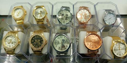 kit c/60 relógios feminino dourado caixas atacado fr. gratis