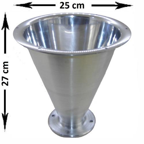 kit c/8 cone corneta jarrão grande aluminio polido parafuso