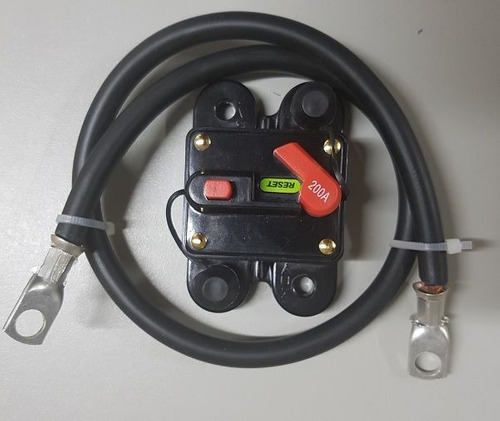 kit cabo 25mm + disjuntores 100a 12/24 vcc para inversores