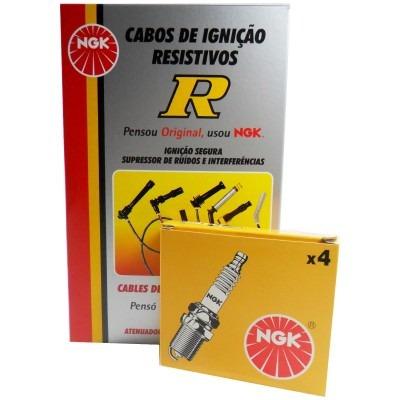 kit cabos + velas ngk fiorino 1.3 8v furgão fire 2003/