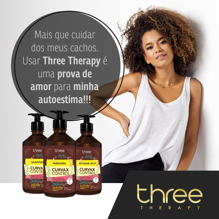 05ffc9af7 Kit Cachos Curvax Control Three Therapy - R$ 98,00 em Mercado Livre