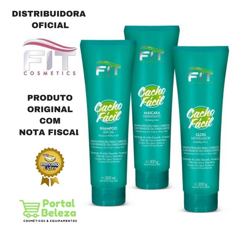 kit cachos fácil shampoo máscara e gloss fit cosmetics