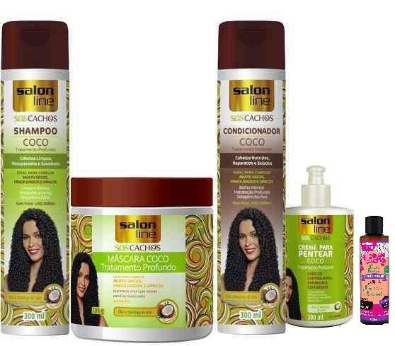 0b3fea795 Kit Cachos Tratamento Profundo Coco Salon Line + Ativador - R$ 86,17 em  Mercado Livre
