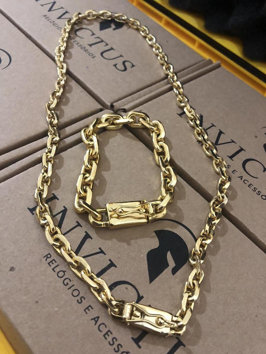 d69b1e46bbf kit cadeado  corrente 7mm + pulseira 10mm banhados ouro 18k. Carregando  zoom.