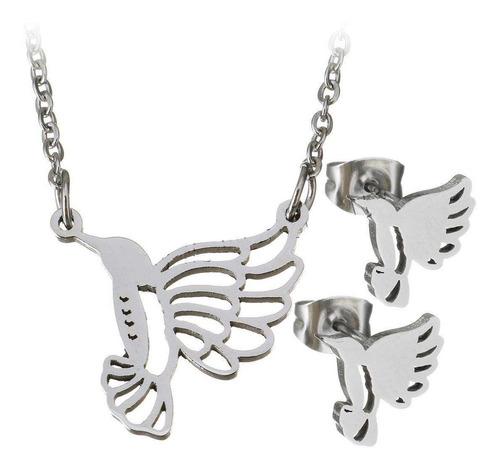 kit cadena dije aretes plateado forma de colibri acero