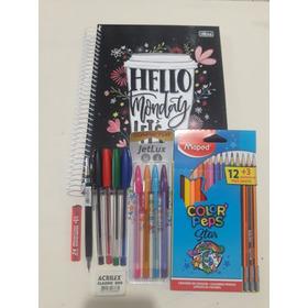 Kit Caderno 10 Mat.+canetas+lapiseira + Grafite+borracha+lap