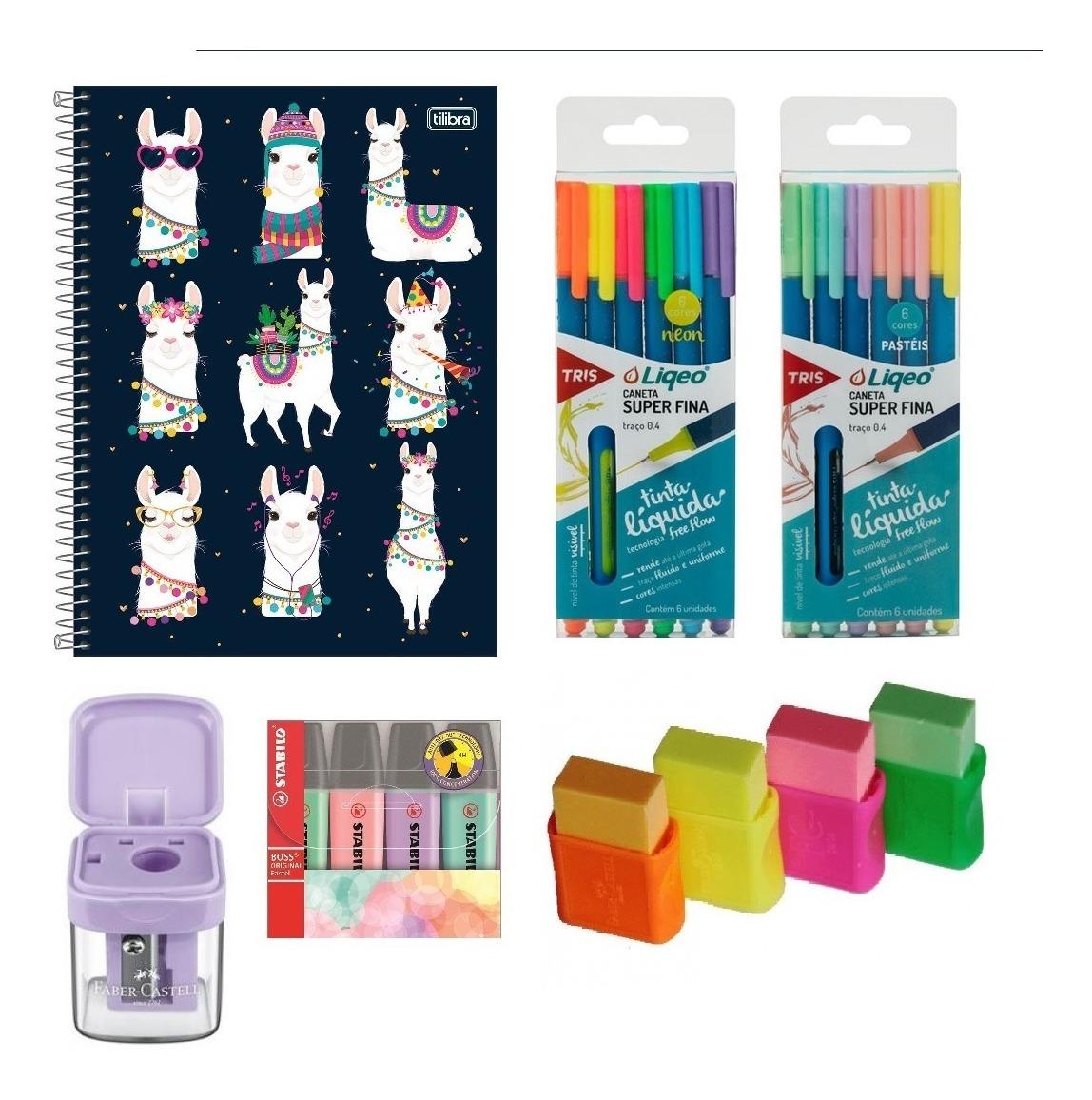 Kit Caderno Lhama + Pens + Borrachas Neon + Apontador Pastel