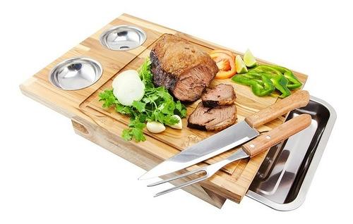kit caipirinha + tabua com 2 cumbucas inox garfo e faca