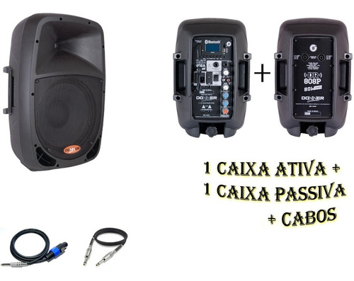 kit caixa ativa 8 + caixa passiva 8 + cabos brinde nca