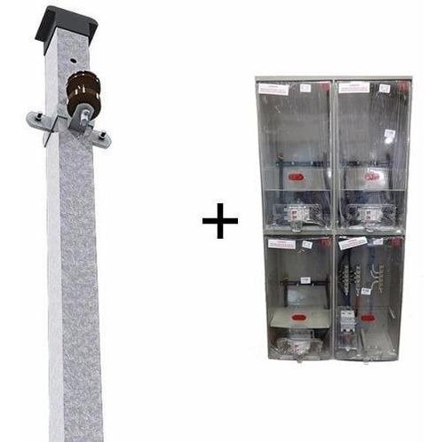 kit caixa luz p/ 3 medidor + poste padrão eletropaulo 25mm
