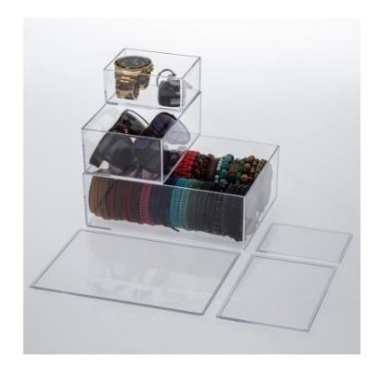 kit caixa organizadora laços,maquiagem,cosméticos elegance