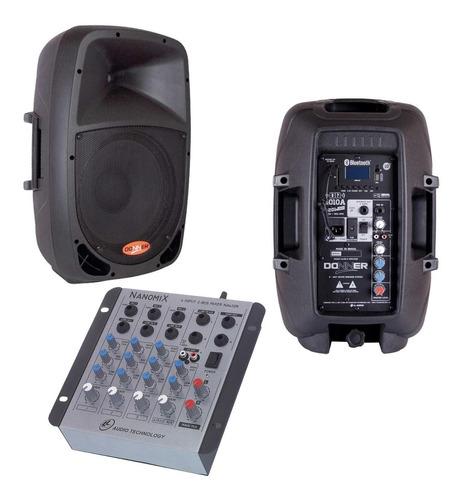 kit caixa som ativa usb + passiva + mesa som promoção nca