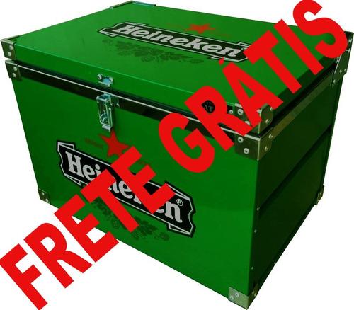 kit caixa termica 50 lts + churrasqueira + luminoso cerveja