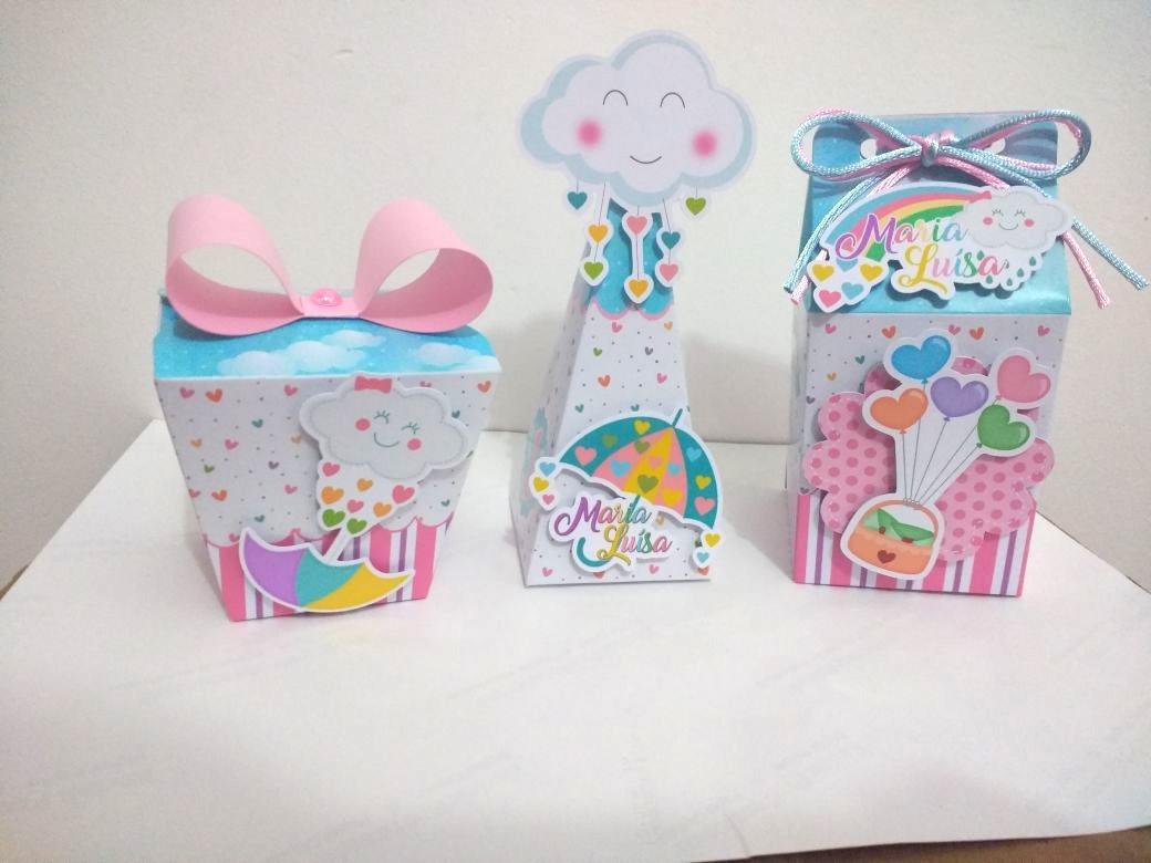5f9ba2f85e582d Kit Caixas Personalizadas Chuva De Bênção/amor 90 Peças