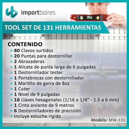 kit caja herramientas regalo 131 pzas maletin completa