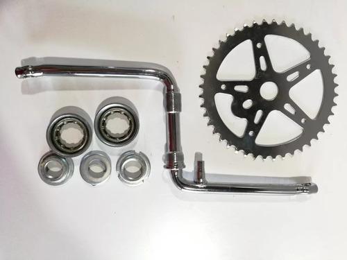 kit caja pedalera + biela + plato bici playera rod 26