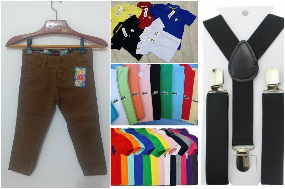 f4b4a0dcf59a2 Kit Calça Colorida Infantil + Camisa Polo + Suspensório - R  99