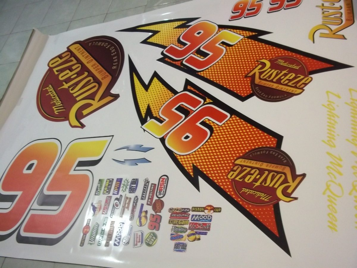 Kit calcomanias rayo mcqueen cars stickers 1 en for Donde venden stickers para pared