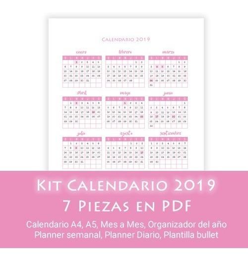 Calendario Diario Para Imprimir 2019.Kit Calendario 2019 Para Imprimir En A4 Planners