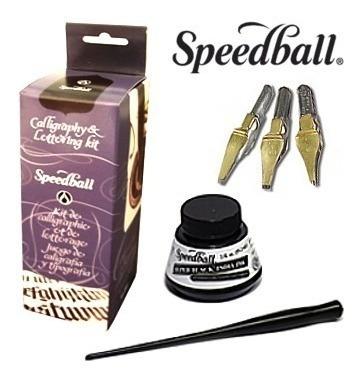 kit caligrafia speedball cabo penas tinta frete grátis