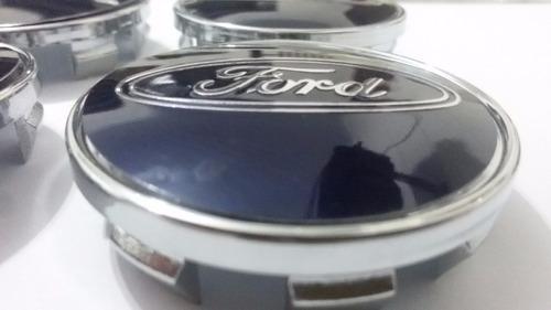 kit calotinha centro de roda ford azul 51mm + brinde