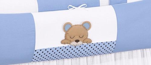 kit cama baba dorminhoco azul +cortina bando ursinho