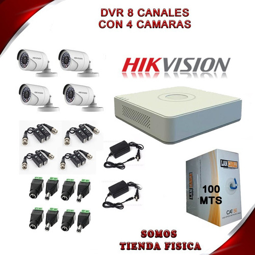 kit camara dvr 8 hikvision + 4 camaras + accesorios