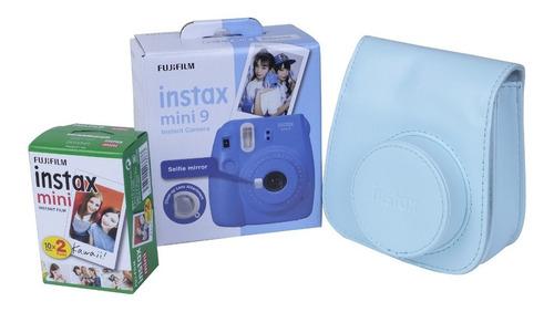 kit cámara mini 9 cobalto blue + película 20 fotos + estuche
