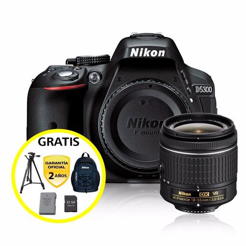 kit cámara profesional reflex nikon d5300 c/18-55mm vr