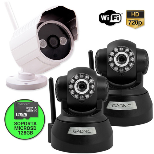kit camaras ip exterior interior gadnic wifi p2p 720p + 8gb