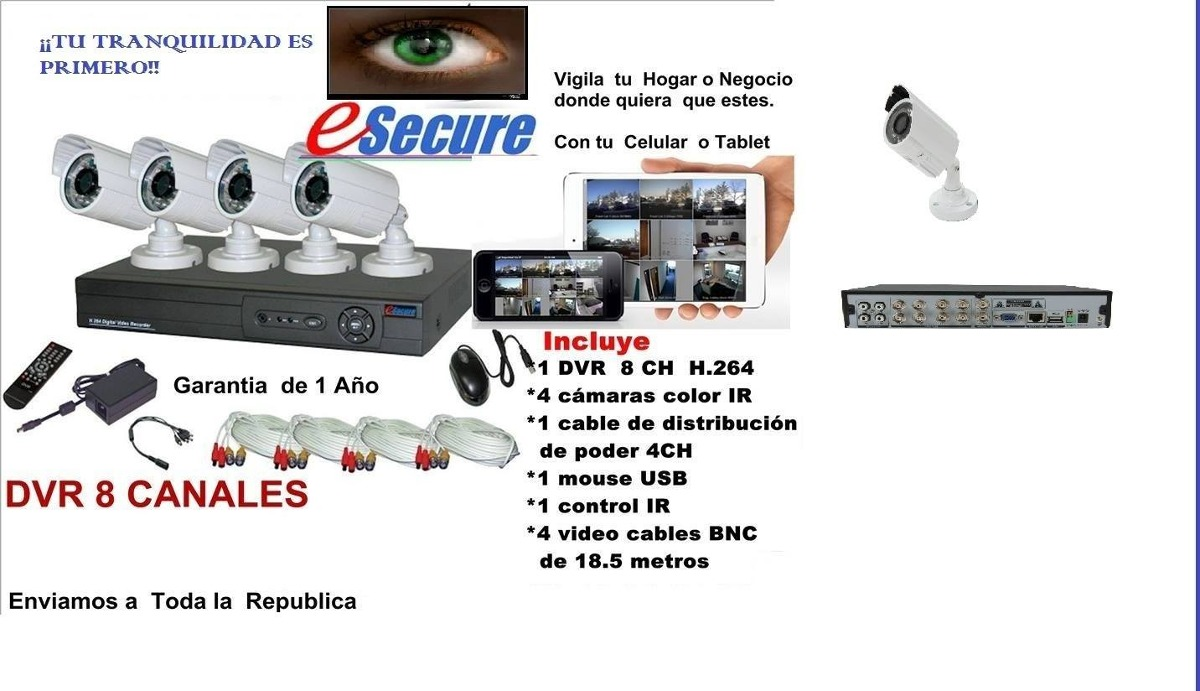 Kit de cctv 4 c maras de video vigilancia 8 canales - Camara de video vigilancia ...