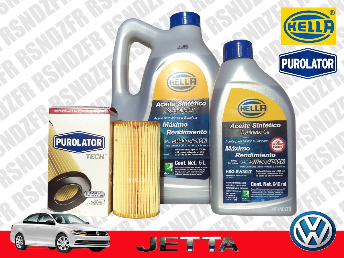 Kit Cambio Aceite Sintetico Hella 5w30 Volkswagen Jetta 2 5l