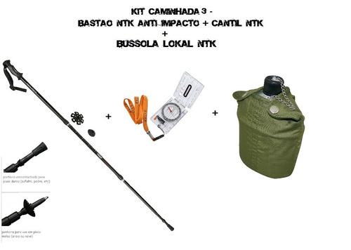 kit caminhada- bastão anti impacto trek pro ntk+ cantil ntk