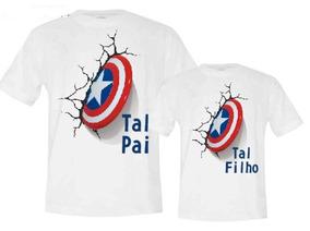 1e4aaac0bf1cbf Camiseta Tal Pai Tal Filha Capitao America - Camisetas com o ...