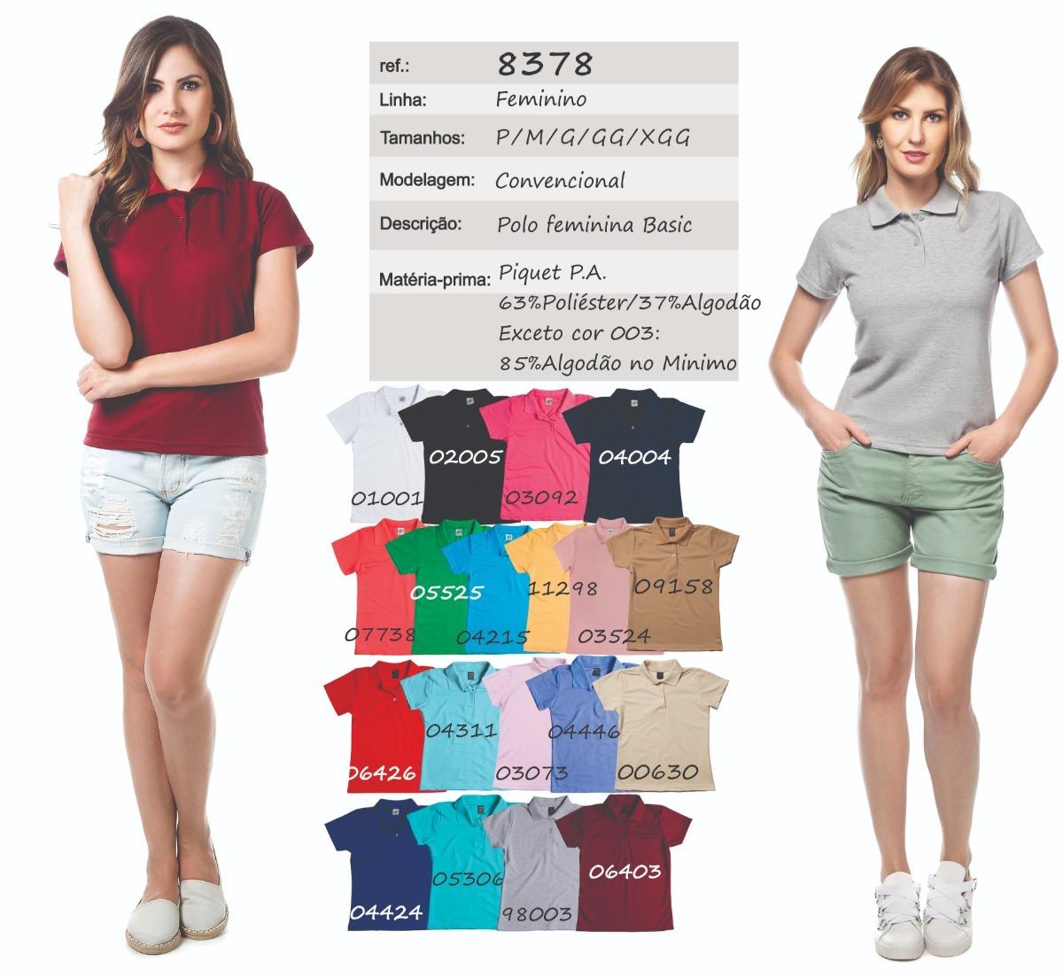 kit camisa pólo feminina sem bolso - ref. 8378 kit 5 peças. Carregando zoom. 6186f3dc74b67