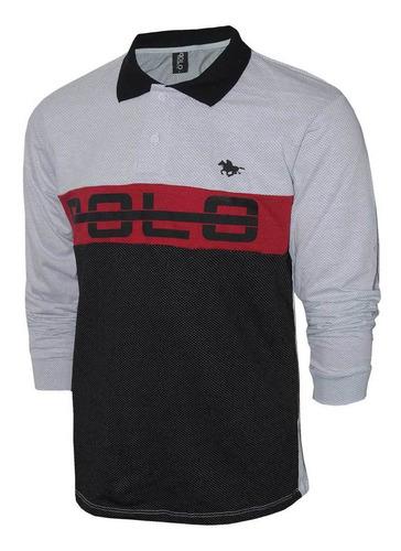 kit camisa polo masculina rg518 manga longa